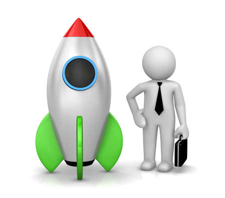 strat: Businessman and a rocket is strat up symbol, 3d rendering Stock Photo