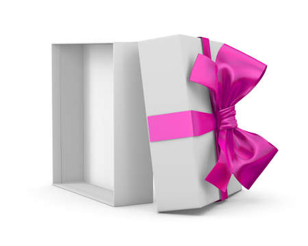 Open pink gift box for valentine day white background 3d rendering