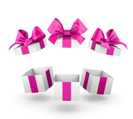 new year s day: group three open valentine day pink gift boxes white background 3d rendering