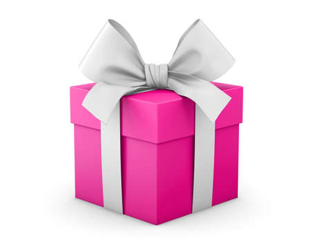 pink gift box valentine day concept white background 3d rendering Stock Photo