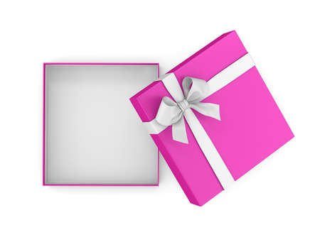 goodie: Open Pink gift box ribbon for Valentine day top view on white background 3d rendering