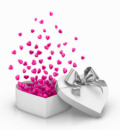 Happy Valentines day  open heart gift and flow pink hearts background 3d render Stock Photo