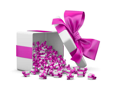 Open pink Gift box emitting little gifts many boxes with ribbon for valentine day concept ,3d rendering