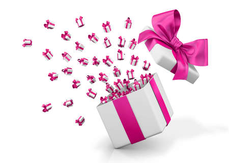 Gift box emitting little gift boxes with a pink ribbon Valentine day concept 3d rendering