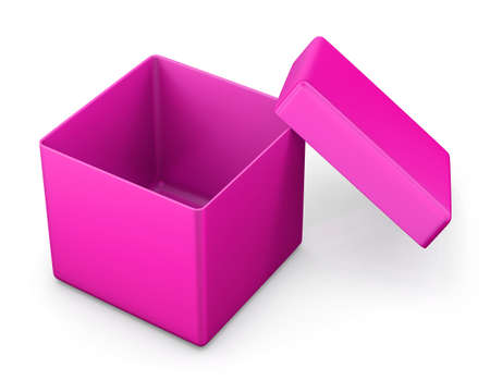ship with gift: open pink box for Valentine day . 3d rendering