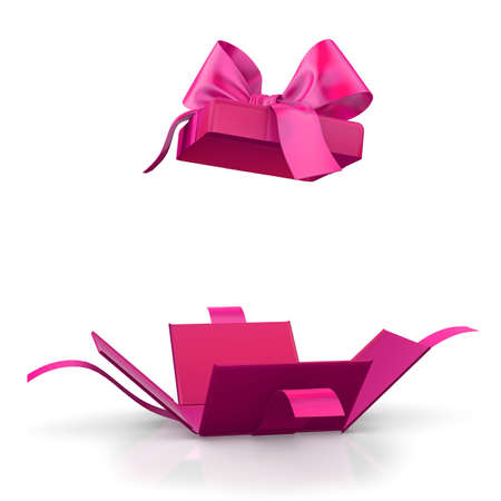 Valentine day concept Open pink gift box white background 3d rendering