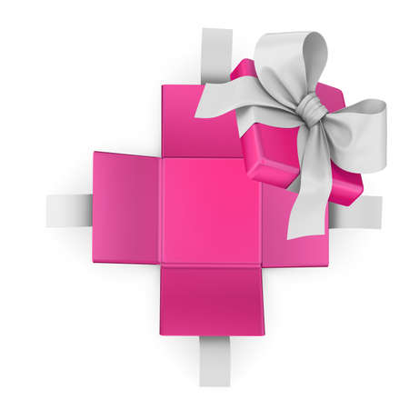 new years day: Christmas  New Years Day and Valentine day concept ,Open pink gift box white background top view 3d rendering