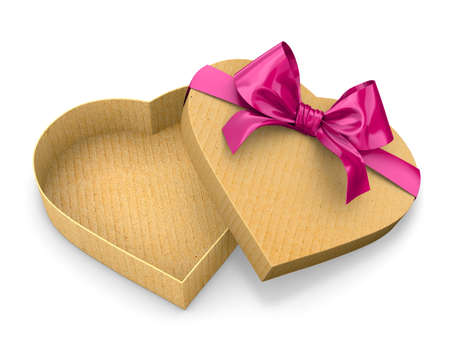 Heart shaped gift cardboard box red bow valentines day 3d render Stock Photo