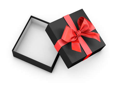 new year s day: open red black gift box ribbon top view white background 3d rendering