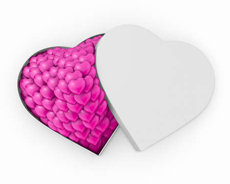 Happy Valentines day  and open pink heart gift background 3d rendering Stock Photo