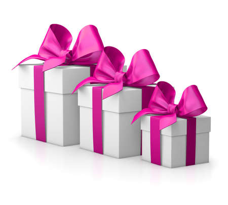 new year s day: group three pink gift boxes valentine day white background 3d rendering Stock Photo