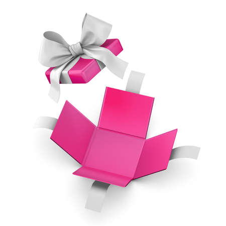 new year s day: Christmas  New Years Day and Valentine day concept ,Open pink gift box white background top view 3d rendering