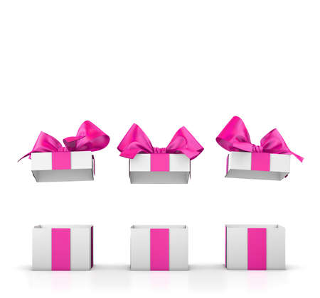 group three open valentine day pink gift boxes white background 3d rendering