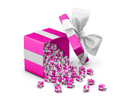 Gift box emitting little gift boxes with a pink ribbon ,3d rendering