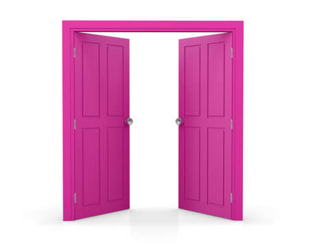 pink double door open on white background 3d  rendering