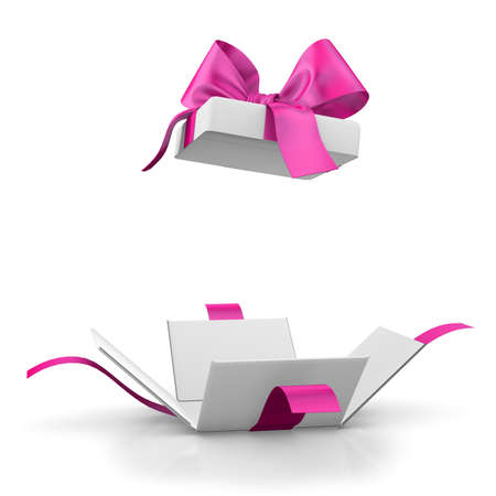 open pink gift box for Valentine day, 3d rendering