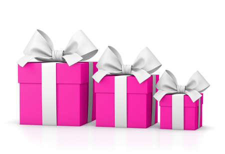 set of pink gift boxex isolated for Valentine Day 3d rendering