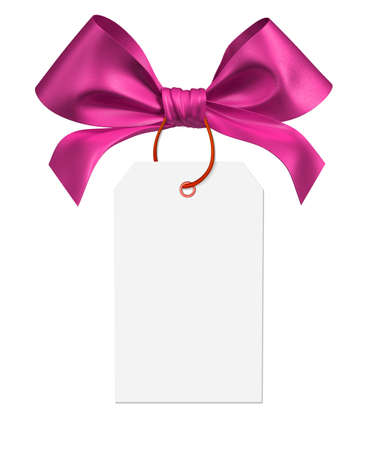 pink ribbon bow on white background 3d rendering