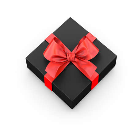 new year s day: red black gift box ribbon top view white background 3d rendering