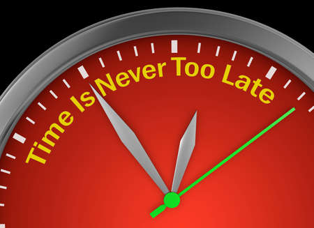 Never too late phrase on concept clock, 3d rendering 版權商用圖片