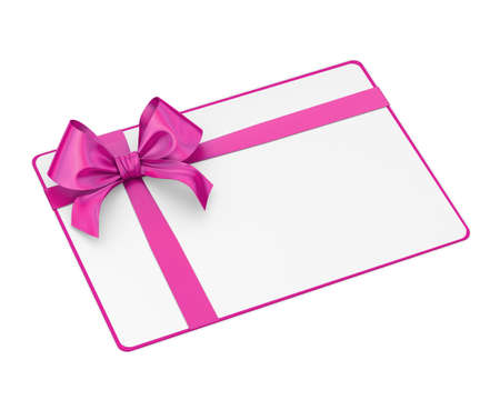 white card and pink ribbon bow for Valentine day 3d rendering Stock Photo