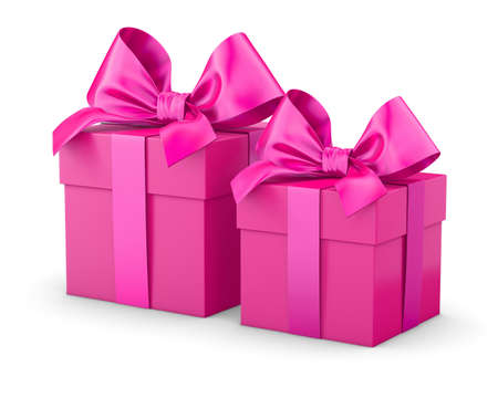 2 pink gift boxes Valentine day concept white background 3d rendering
