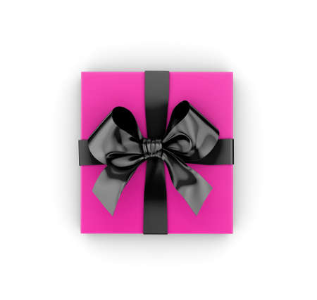 black pink gift box top view on white background Valentine day concept 3d rendering Stock Photo