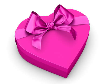 Valentine concept heart shaped pink gift box bow ribbon over white background isolate 3d rendering