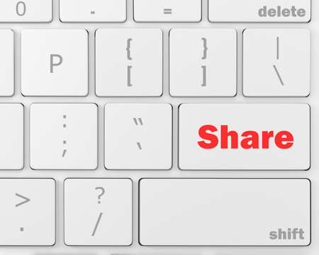 microblogging: social media Button on Keyboard, 3d rendering Stock Photo
