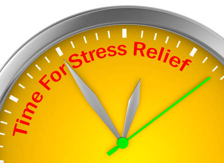 stress relief: Time for stress relief motivation clock, 3d rendering