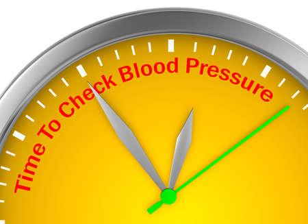 hypertensive: Check blood pressure motivation message on concept clock 3d rendering