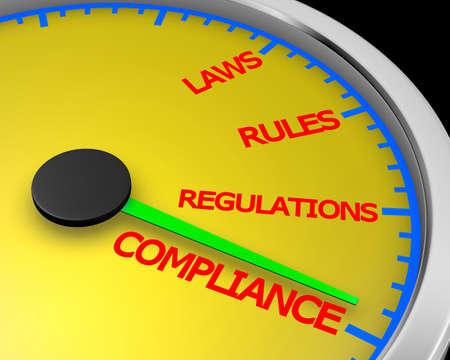 Compliance Rules Laws Regulations Speedometer 3d rendering
