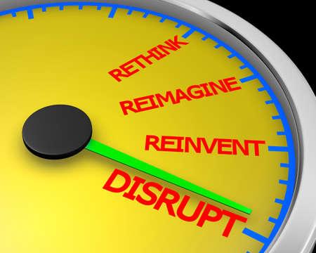 Disrupt Rethink Reimagine Reinvent Speedometer Words Change 3d Illustration rendering Stok Fotoğraf - 73552375