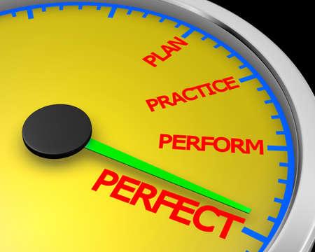 Perfect Speedometer Words 3d Illustration rendering Stock Photo