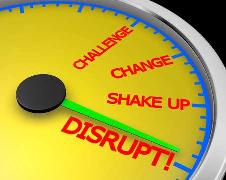 Un compteur de vitesse avec le mot Disrupt rendu 3d