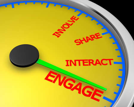 improving: Involve Share Interact Engage meter 3d Illustration rendering Stock Photo