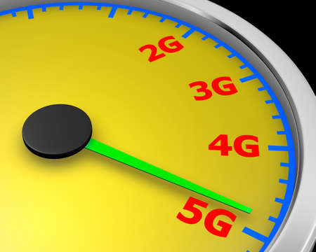 speed: Wireless network speed. 5G high speed internet concept. 3d rendering