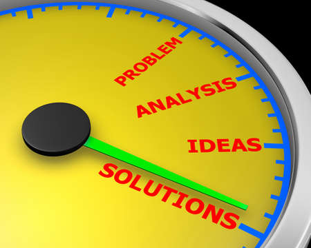 Concept of problem solving meter 3d rendering Stock Photo