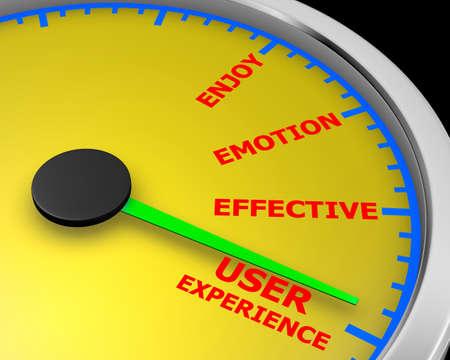 user experience conceptual meter indicate maximum, 3d rendering Stock Photo