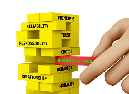 principled: Businessman Building BUSINESS ETHICS Concept with Wooden Blocks 3d rendering