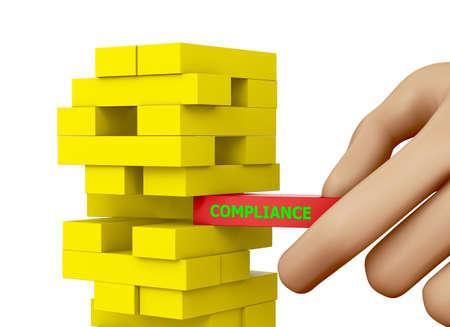 compliance concept wood block , 3d rendering