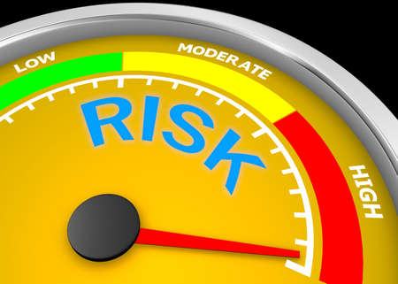 risk level to maximum conceptual meter, 3d rendering Stock Photo