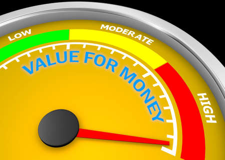Value for money conceptual meter to maximum, 3d rendering