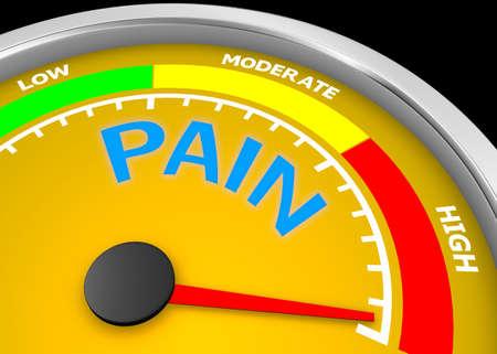 niveau de douleur mètre conceptuel indiquent maximale, isolé sur fond blanc rendu 3d Banque d'images