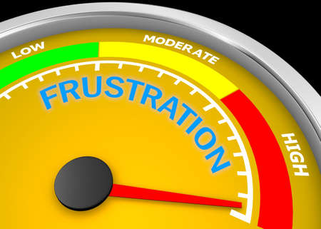Frustration level to maximum conceptual meter , 3d rendering
