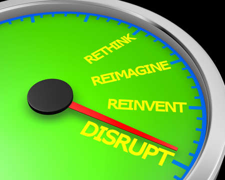 Disrupt Rethink Reimagine Reinvent Speedometer Words Change 3d Illustration rendering