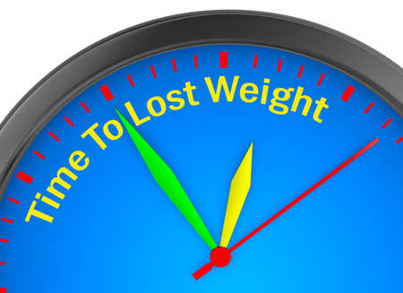 Time to lose weight motivation message on concept clock 3d rendering