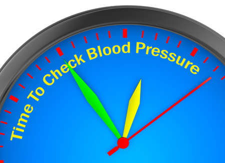 tonometer: Check blood pressure motivation message on concept clock 3d rendering