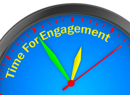 Engagement time word on concept clock 3d rendering