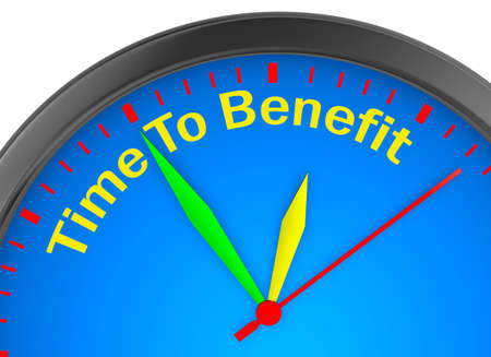 Time to benefit motivation concept clock, 3d rendering Stock Photo